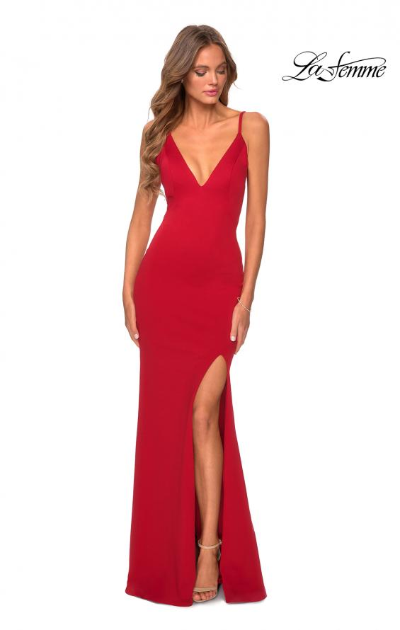 Picture of: Jersey Prom Gown with Lace Up Back and Slit in Red, Style: 28653, Detail Picture 8