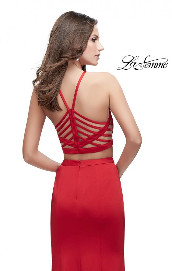 Picture of: Two Piece Jersey Prom Dress with High Neckline in Red, Style: 25220, Back Picture