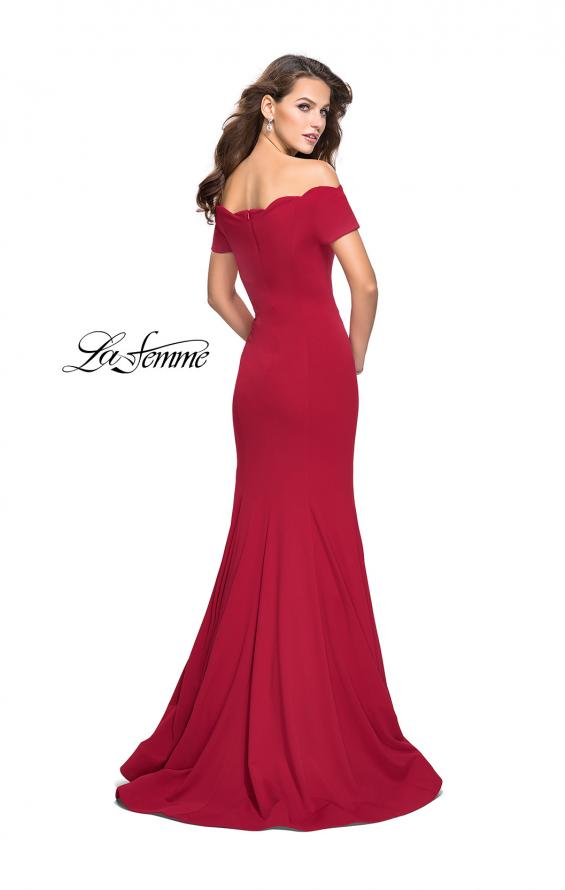 Picture of: Off the Shoulder Mermaid Style Dress with Scallop Neckline, Style: 25476, Back Picture