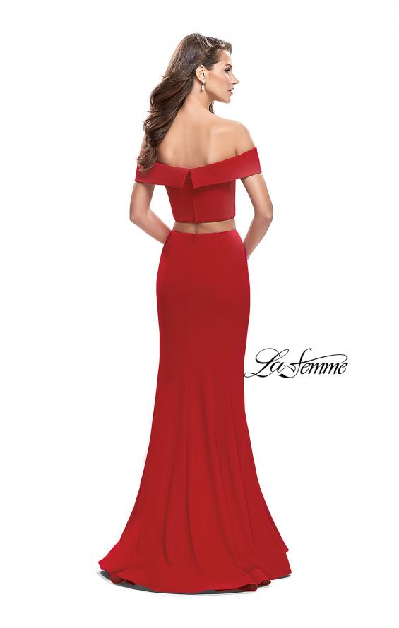 Picture of: Form Fitting Off the Shoulder Jersey Mermaid Dress, Style: 25578, Back Picture