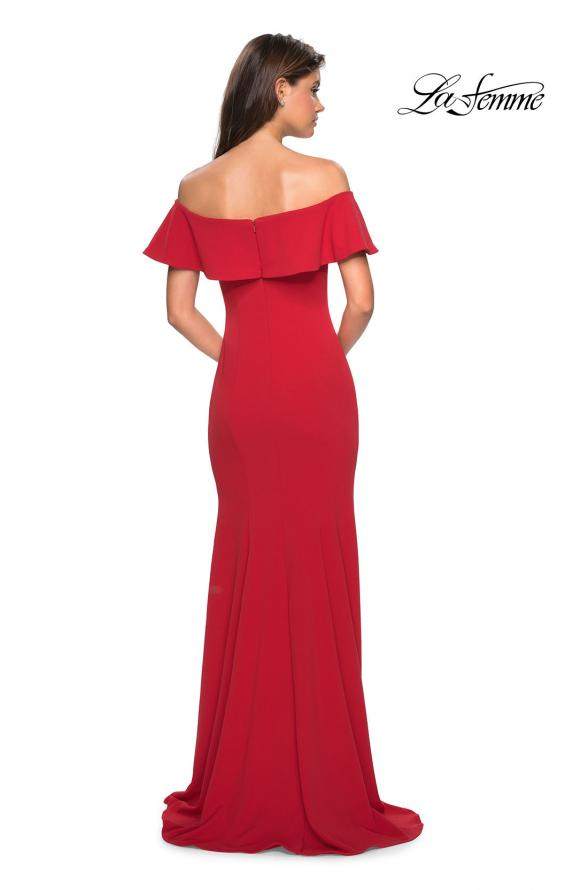 Picture of: Long Off The Shoulder Prom Dress with Side Slit in Red, Style: 27096, Back Picture