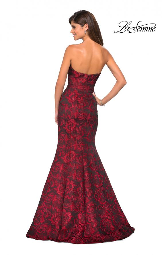 Picture of: Long Floral Jacquard Strapless Prom Dress, Style: 27149, Back Picture