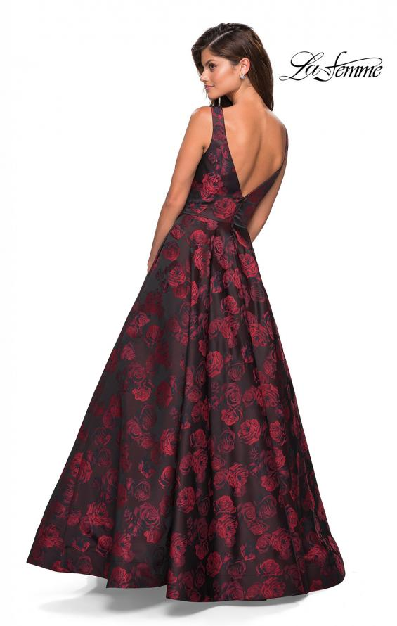Picture of: Floral A Line Ball Gown with V Back and Pockets in Red, Style: 27298, Back Picture