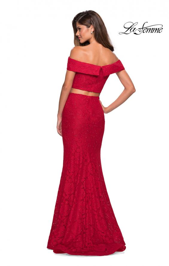 Picture of: Lace Two Piece Off the Shoulder Dress with Rhinestones in Red, Style: 27443, Back Picture