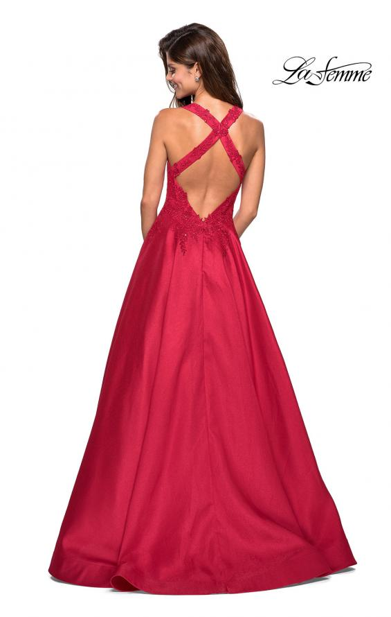 Picture of: Floor Length Mikado Gown with Lace and Rhinestones in Red, Style: 27529, Back Picture