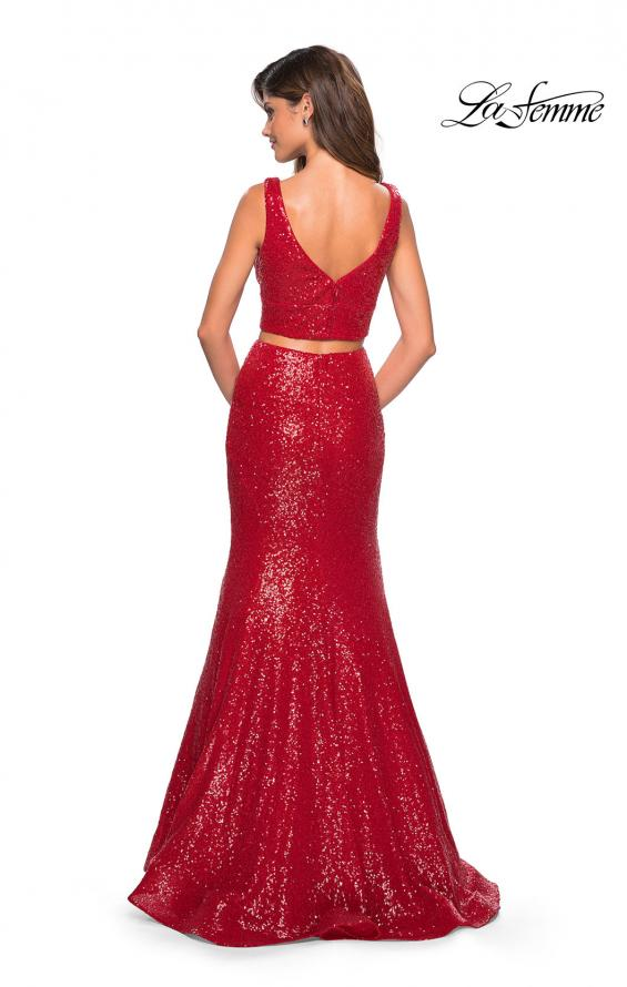 Picture of: Fully sequin Two Piece Floor Length Prom Gown in Red, Style: 27590, Back Picture