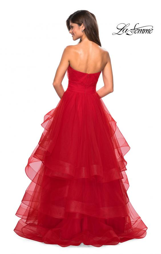 Picture of: Layered Tulle Strapless Prom Gown with Ruching, Style: 27624, Back Picture