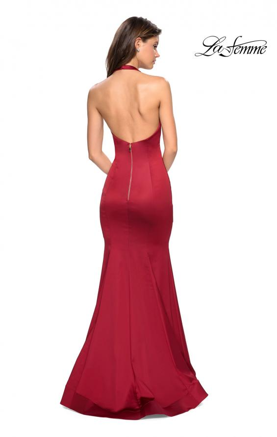 Picture of: Form Fitting Halter Satin Dress with Open Back in Red, Style: 27653, Back Picture