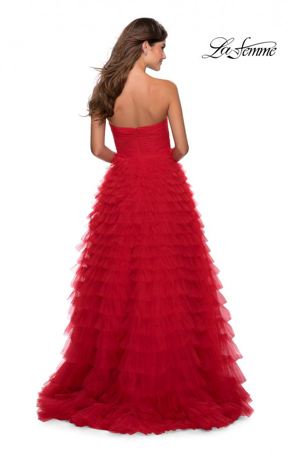 Picture of: Cascading Tulle Strapless Gown with Ruching in Red, Style: 28345, Back Picture