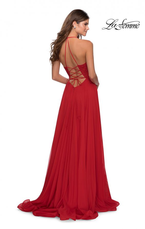 Picture of: A-line Dress with Straight Neckline and Floral Detail in Red, Style: 28600, Back Picture
