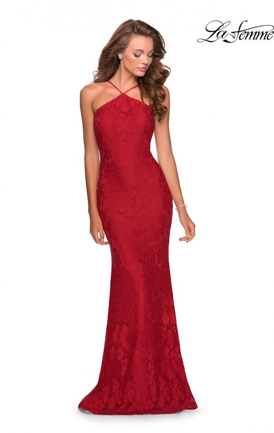 Picture of: Open Back Jersey Prom Dress with High Neckline in Red, Style: 28619, Back Picture