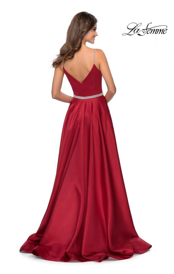 Picture of: Satin A-line Gown with Rhinestone Belt and Straps in Red, Style: 28695, Back Picture