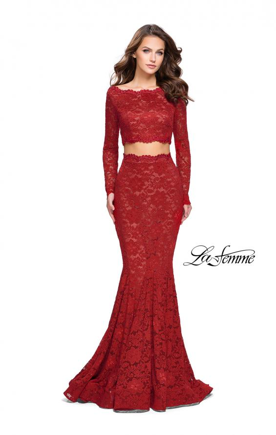Picture of: Mermaid Style Lace Two Piece Dress with Scalloped Trim in Red, Style: 25668, Detail Picture 1