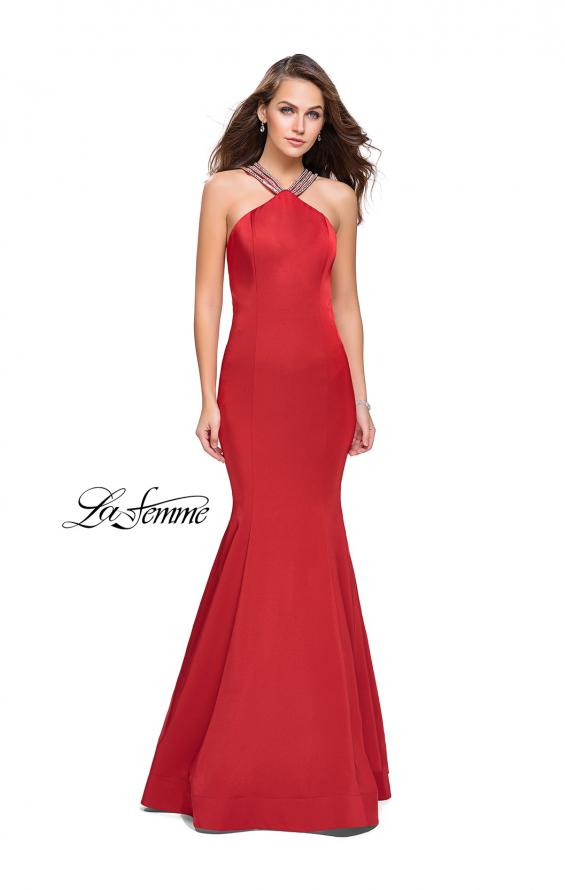 Picture of: Halter Mermaid Prom Dress with Metallic Beading in Red, Style: 25763, Detail Picture 1
