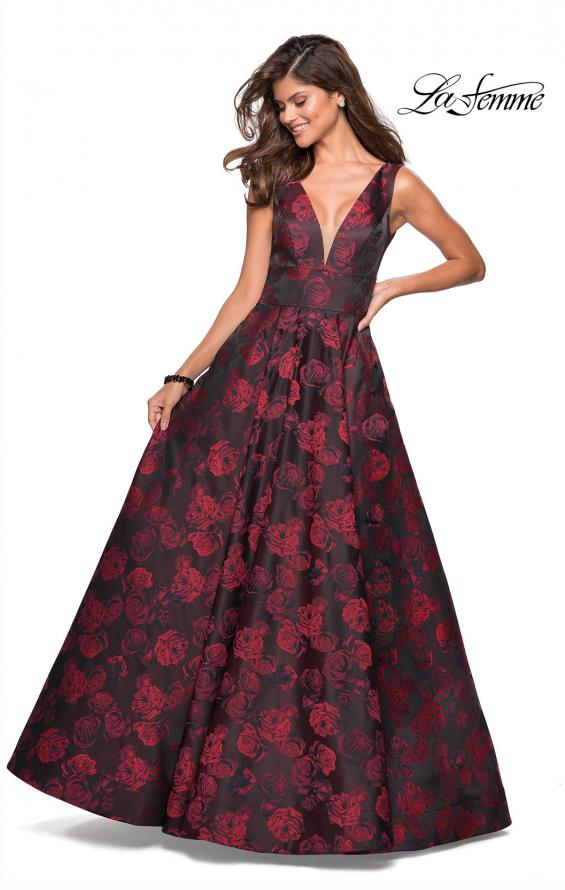 Picture of: Floral A Line Ball Gown with V Back and Pockets in Red, Style: 27298, Detail Picture 1