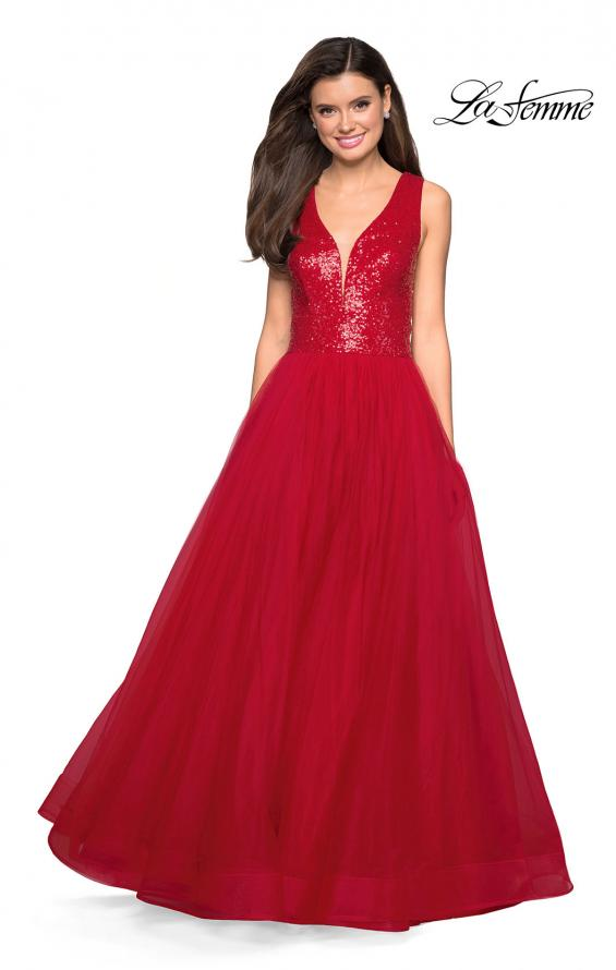 Picture of: sequin Bust A Line Prom Gown with Pockets in Red, Style: 27336, Detail Picture 1