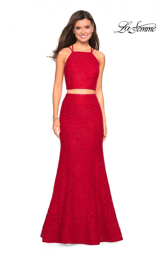 Picture of: Two Piece Stretch Lace Prom Dress with Strappy Back in Red, Style: 27452, Detail Picture 1