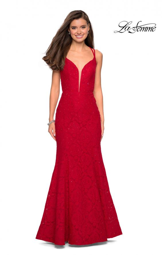 Picture of: Mermaid Style Lace Dress with Strappy Open Back, Style: 27560, Detail Picture 1