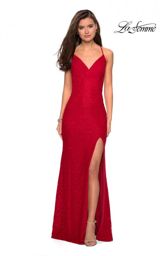 Picture of: Form Fitting Lace Dress with V Neckline and Slit in Red, Style: 27614, Detail Picture 1