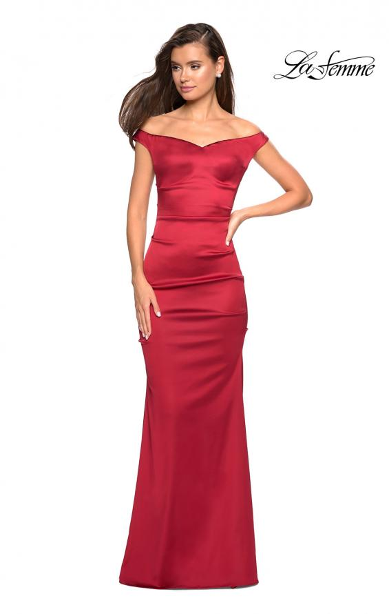 Picture of: Off the Shoulder Form Fitting Dress with Exposed Zipper in Red, Style: 27821, Detail Picture 1
