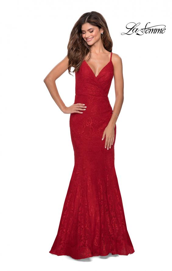 Picture of: Mermaid Lace Prom Dress with Faux Wrap Top in Red, Style: 28564, Detail Picture 1