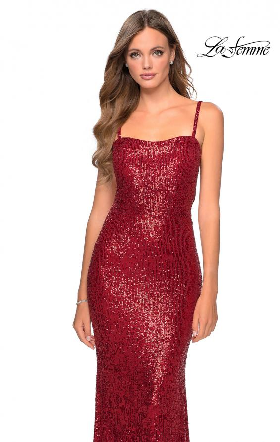Picture of: Long Sequin Prom Dress with Straight Neckline in Red, Style: 28698, Detail Picture 1