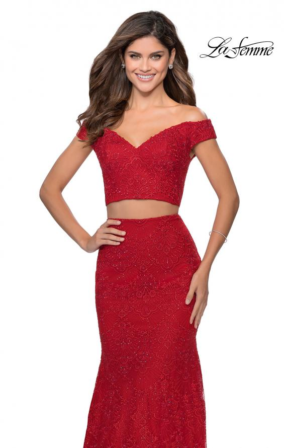 Picture of: Two Piece Lace Gown with Off the Shoulder Top in Red, Style: 28816, Detail Picture 1