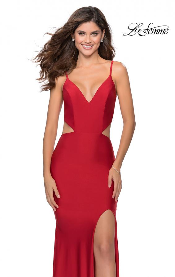 Picture of: Long Jersey Prom Dress with Cut Outs Sides in Red, Style: 28930, Detail Picture 1