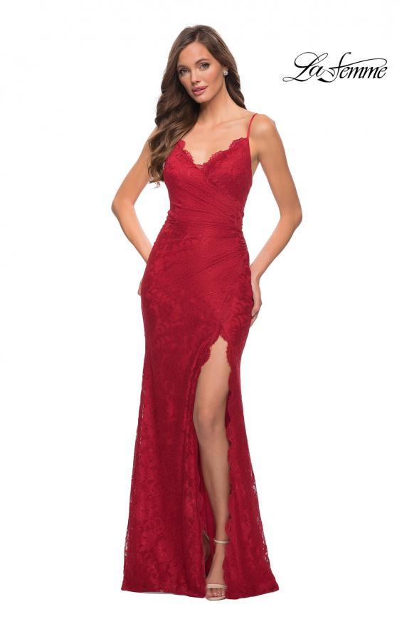 Picture of: Lace Long Dress with Scallop Detail on Skirt Slit in Red, Style 29939, Detail Picture 1