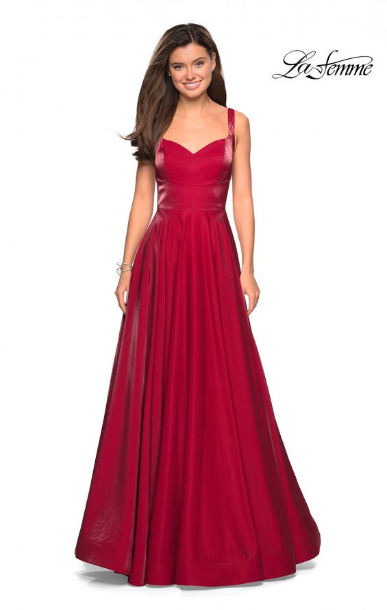 Picture of: Sweetheart Neckline Satin Long Prom Gown in Red, Style: 27227, Detail Picture 2