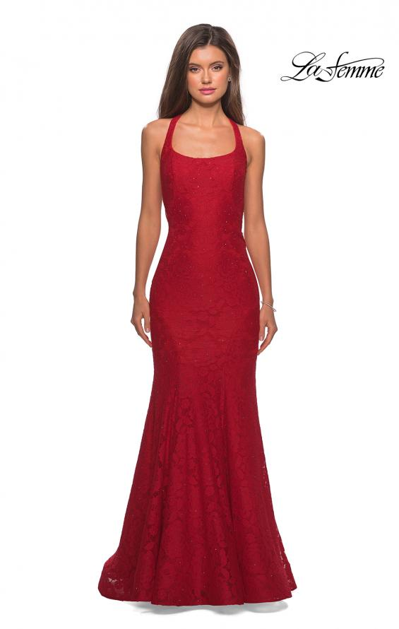 Picture of: Stretch Lace Mermaid Prom Dress with Cut Out Back in Red, Style: 27484, Detail Picture 2
