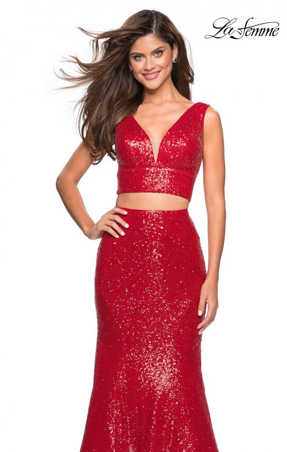 Picture of: Fully sequin Two Piece Floor Length Prom Gown in Red, Style: 27590, Detail Picture 2