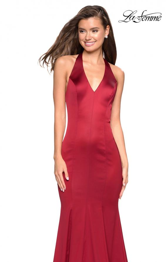 Picture of: Form Fitting Halter Satin Dress with Open Back in Red, Style: 27653, Detail Picture 2