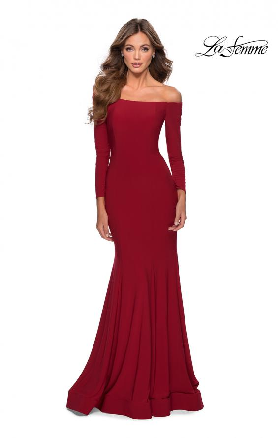 Picture of: Off the Shoulder Long Sleeve Jersey Prom Dress in Red, Style: 28754, Detail Picture 2