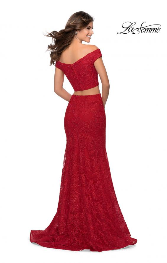 Picture of: Two Piece Lace Gown with Off the Shoulder Top in Red, Style: 28816, Detail Picture 2