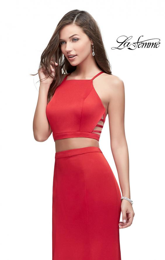 Picture of: Two Piece Jersey Prom Dress with High Neckline in Red, Style: 25220, Detail Picture 3