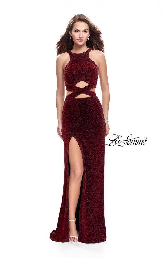 Picture of: Long Jersey Prom Dress with Cut Outs and Low Scoop Back, Style: 25422, Detail Picture 3