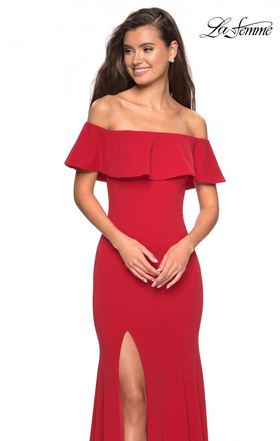 Picture of: Long Off The Shoulder Prom Dress with Side Slit in Red, Style: 27096, Detail Picture 3
