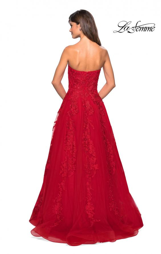 Picture of: Strapless Tulle Prom Dress with Lace Appliques, Style: 27269, Detail Picture 3