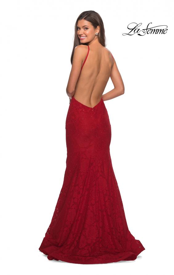 Picture of: Long Lace Prom Dress with High Neckline in Red, Style: 27289, Detail Picture 8