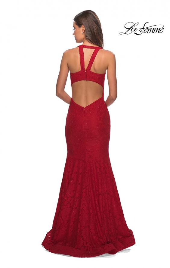 Picture of: Stretch Lace Mermaid Prom Dress with Cut Out Back in Red, Style: 27484, Detail Picture 3