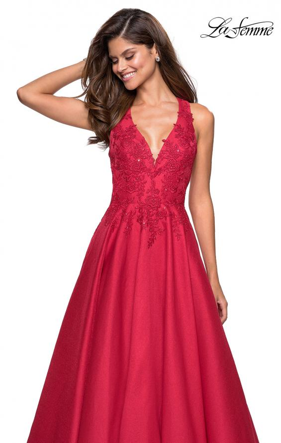 Picture of: Floor Length Mikado Gown with Lace and Rhinestones in Red, Style: 27529, Detail Picture 3