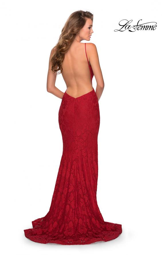 Picture of: Open Back Jersey Prom Dress with High Neckline in Red, Style: 28619, Detail Picture 3