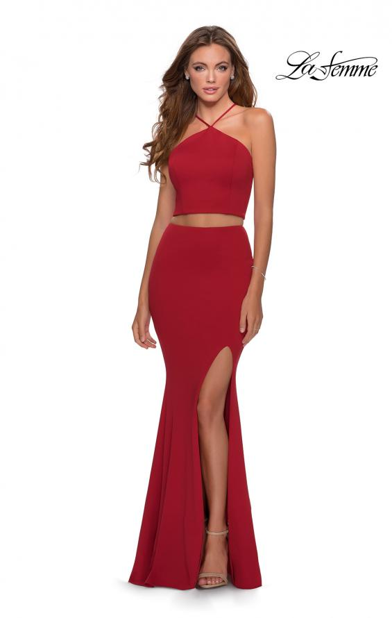 Picture of: Sleek Two Piece Pyramid Neckline Prom Dress in Red, Style: 28624, Detail Picture 3
