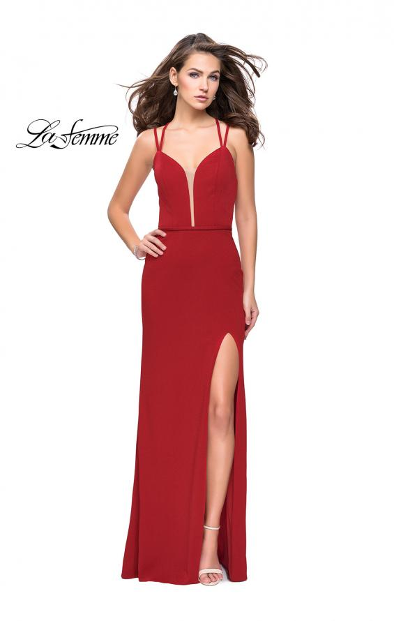 Picture of: Open Strappy Back Long Prom Dress with Deep V, Style: 26023, Detail Picture 4