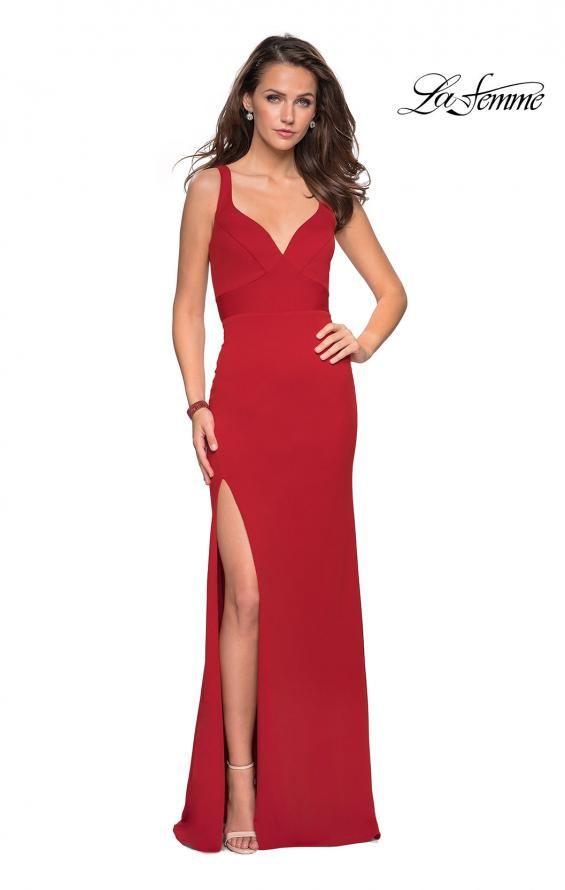 Picture of: Long Jersey Prom Dress with Cut Out Back Detail in Red, Style: 27181, Detail Picture 4