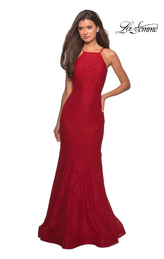 Picture of: Long Lace Prom Dress with High Neckline in Red, Style: 27289, Detail Picture 9