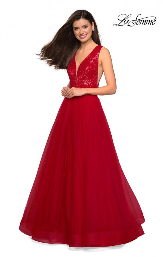 Picture of: sequin Bust A Line Prom Gown with Pockets in Red, Style: 27336, Detail Picture 4