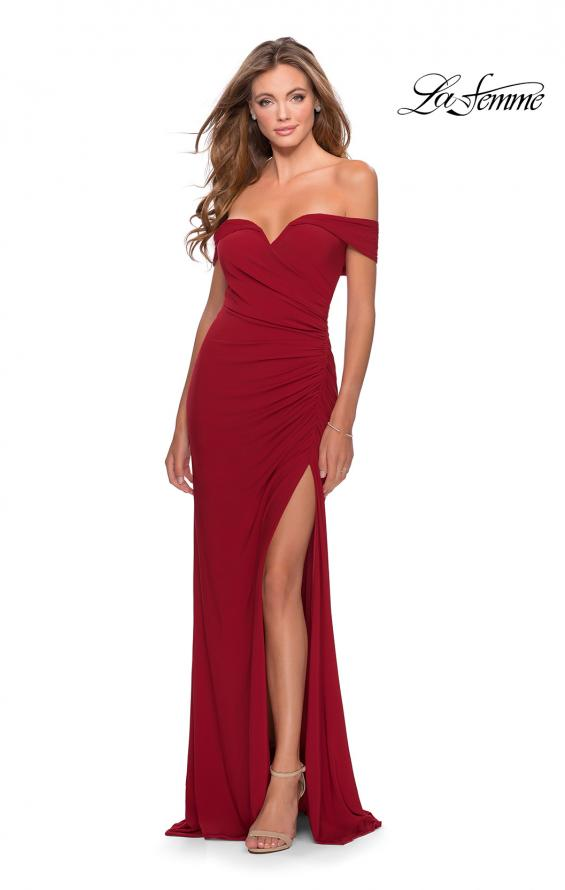 Picture of: Off the Shoulder Fully Ruched Floor Length Gown in Red, Style: 28389, Detail Picture 4