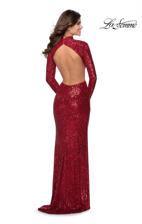 Picture of: Long Sleeve Sequin Prom Dress with Open Back in Red, Style: 28771, Detail Picture 4